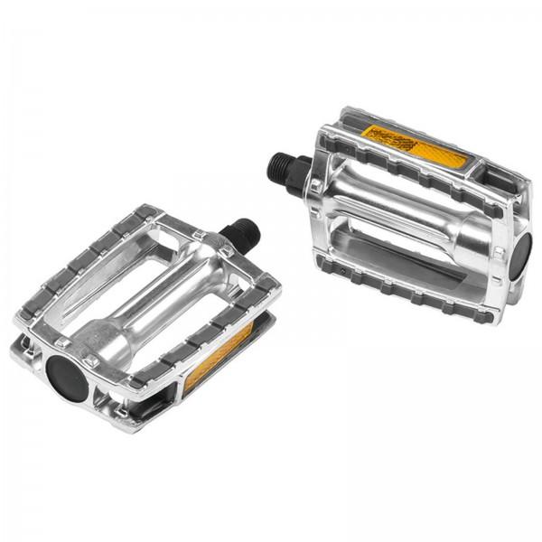 "Ergotec Alu-Pedal 658 XXL silber/grau 9/16"" mit Reflektoren"