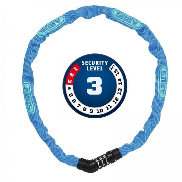 ABUS Zahlen Kettenschloss Steel-O-Chain 4804C/75 blau 4x750mm Level3