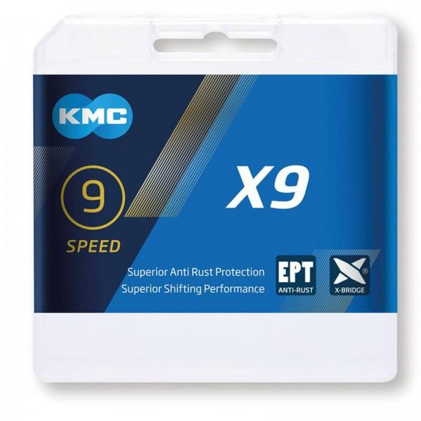 KMC Fahrradkette X9 EPT 114 Glieder 9-fach AntiRost