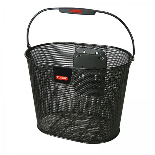 KLICKFIX Fahrradkorb vorne Oval Plus engmaschig schwarz