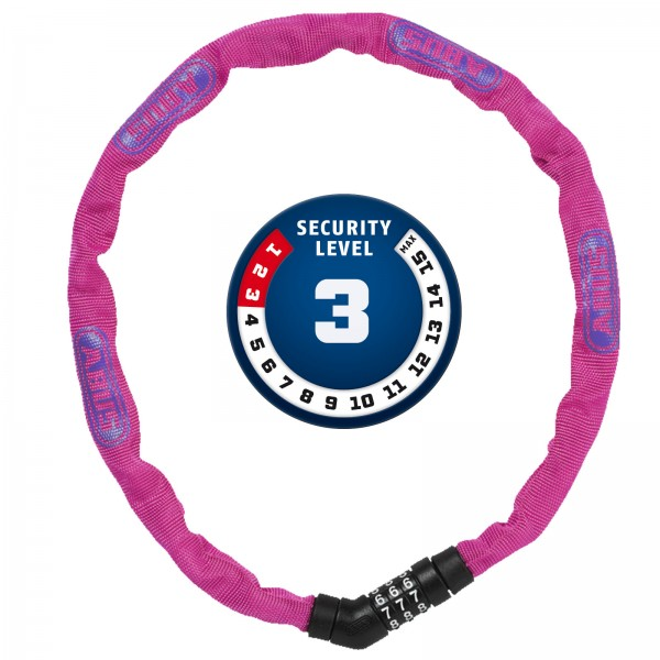 ABUS Zahlen Kettenschloss Steel-O-Chain 4804C/75 pink 4x750mm Level3
