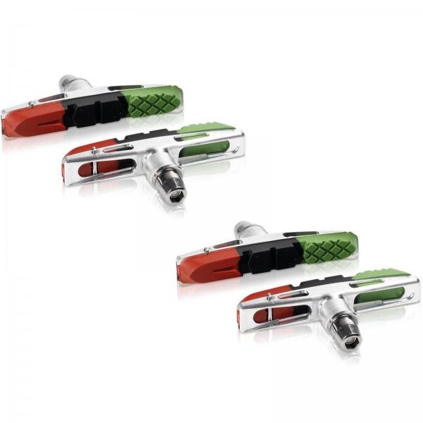 XLC V-Brake Bremsschuhe Cartridge BS-V13 72mm 3-farbig 2 PAAR