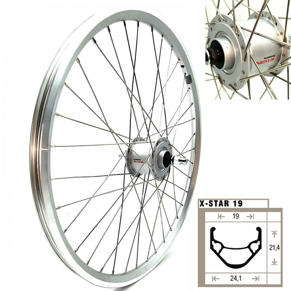 "Vorderrad Laufrad 24"" X-Star19 silber Shimano ND DHC3003 VA silber/Niro Speichen"