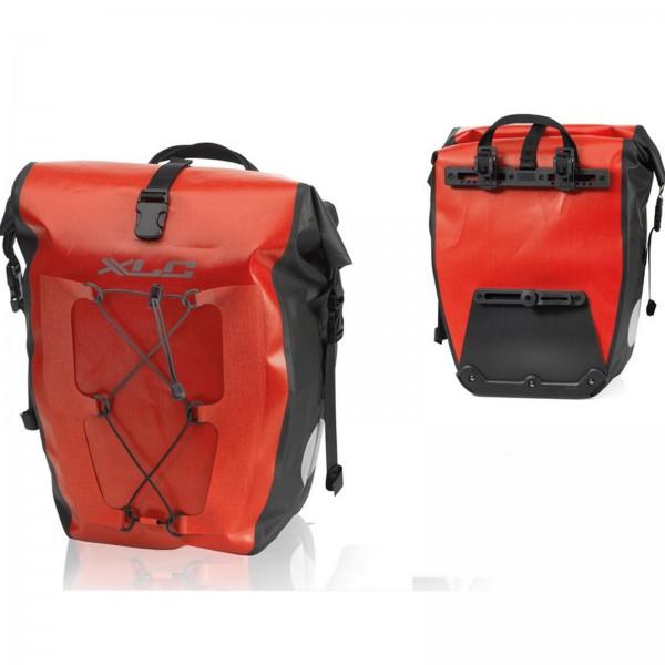 XLC Einzelpacktaschenset wasserdicht 21x18x46cm rot