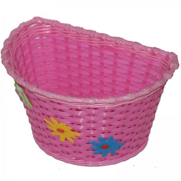Kinderkorb vorne Kunststoff FLOWERS pink 25 x15 x15 cm