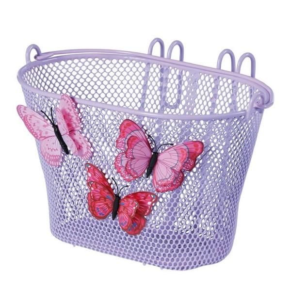 Basil Vorderrad-Kinderkorb Jasmin 28x20x19cm lila/Schmetterlinge engmasch. Lenkerhaken