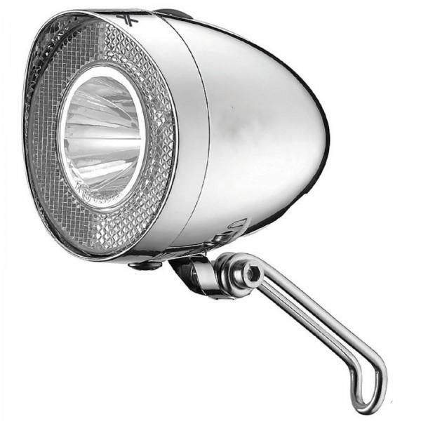 XLC LED Scheinwerfer Nostalgie 40 Lux chrom mit Schalter Standlicht Sensor