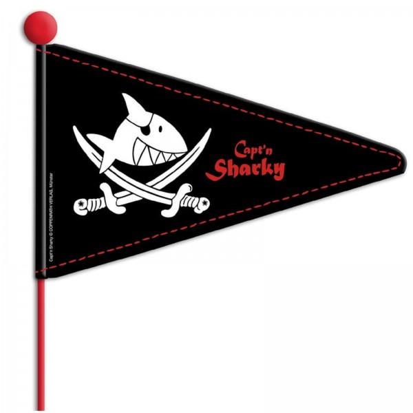 Wimpelstange Capt`n Sharky schwarz mit Motiv teilbar
