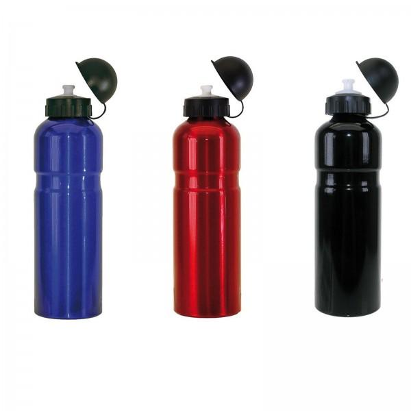 Trinkflasche Aluminium 750ml, mit Deckel schwarz, rot o. blau